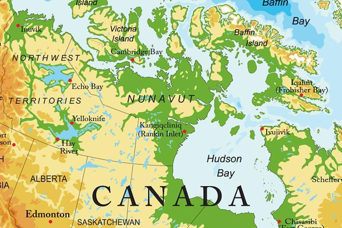 カナダ周辺の地図