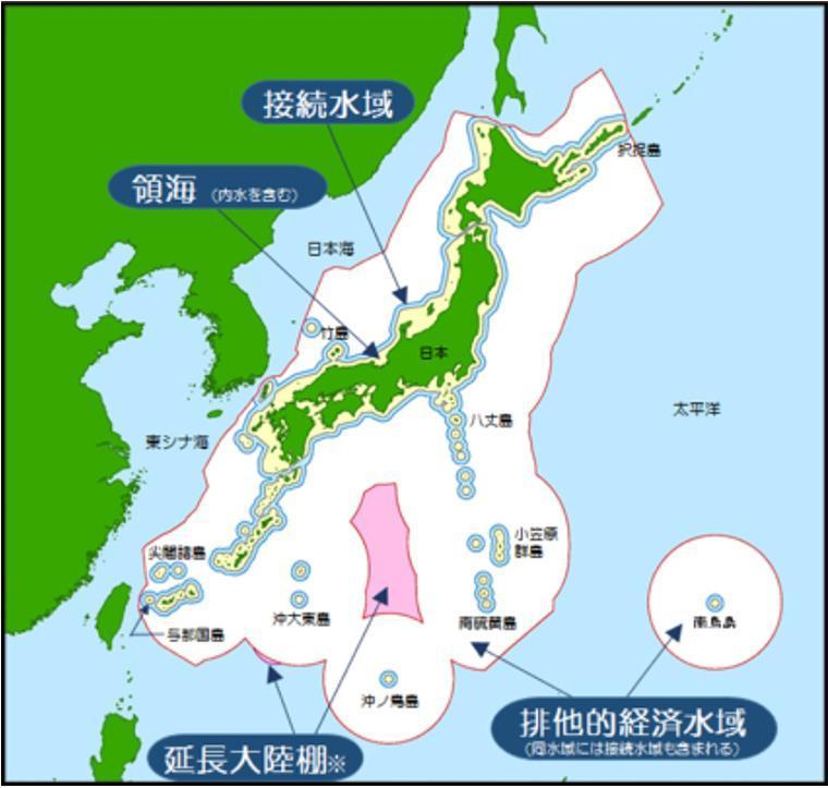 日本の排他的経済水域を表す図
