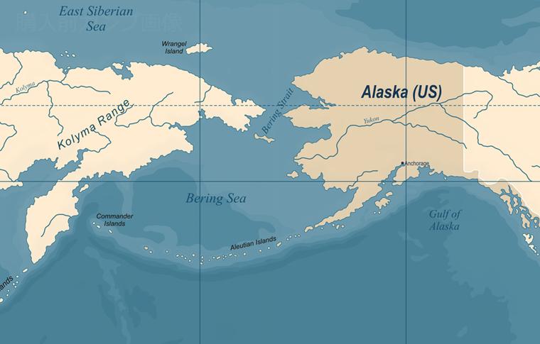 アラスカ付近の地図