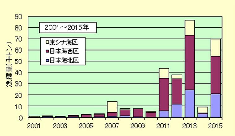 2001年から2015年の漁獲量推移