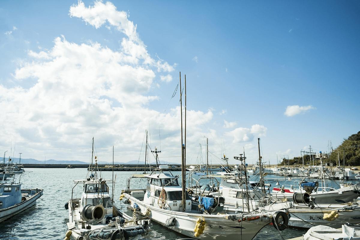 藍島の漁港風景