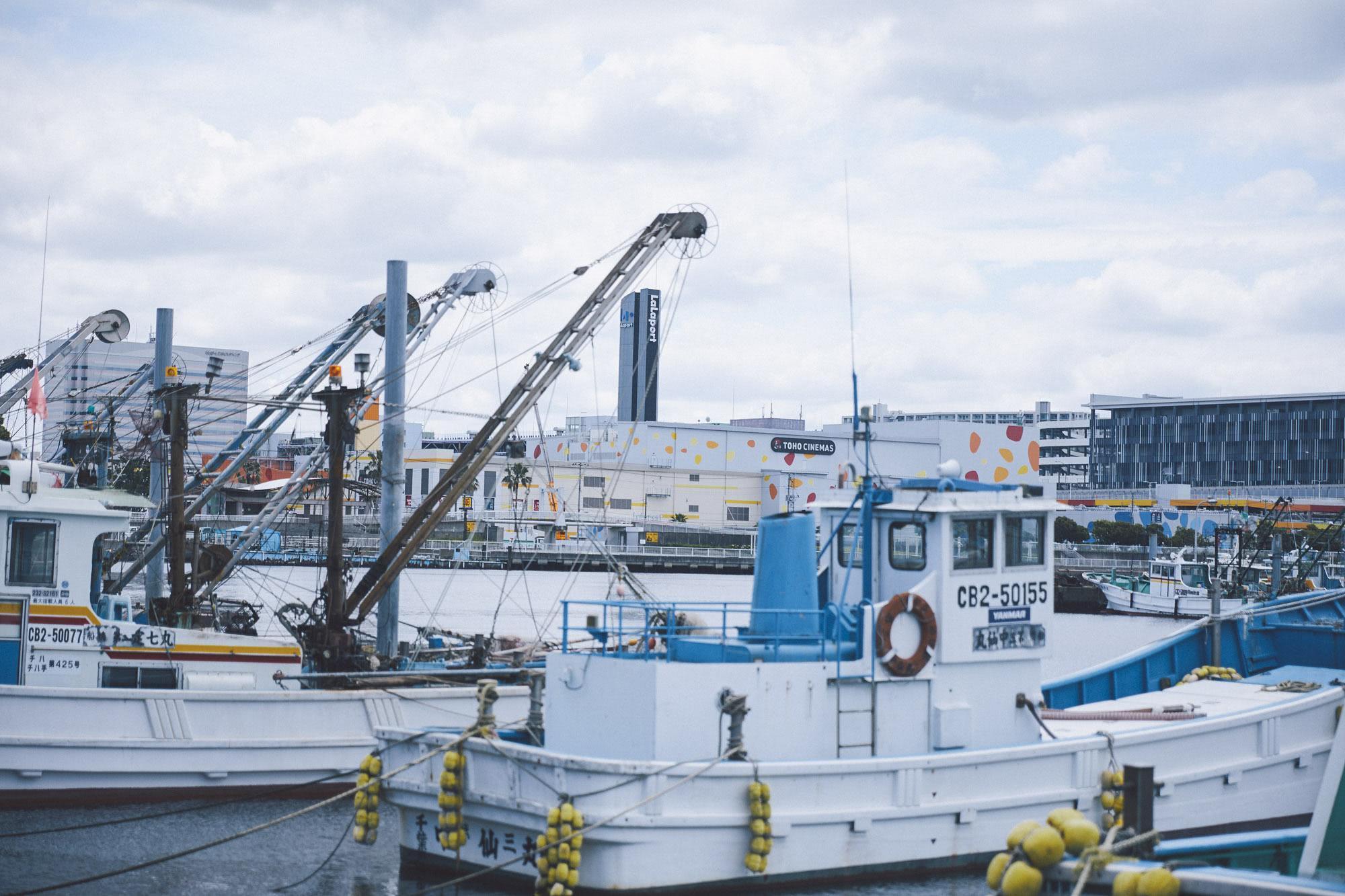 船橋の漁港に係留される漁船