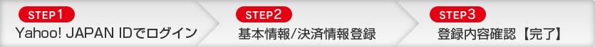 [STEP1]Yahoo!JAPAN IDでログイン→[STEP2]基本情報/決済情報登録→[STEP3]登録内容確認【完了】