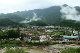 長野県南木曽町で発生した土石流の現場(2014年07月10日) 【時事通信社】