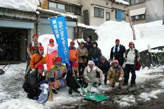 地震被災地での除雪ボランティア