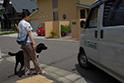 路地や横断歩道など、安全に歩行できる様に訓練します。