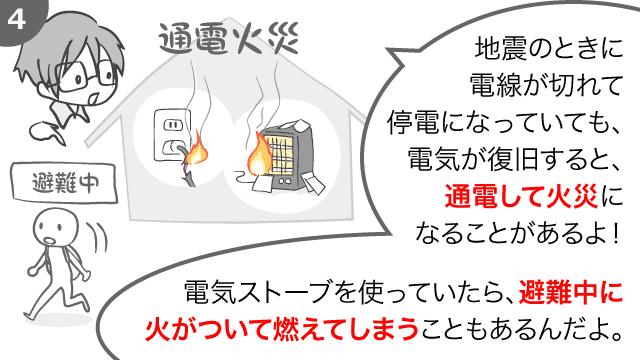 地震の時に電線が切れて停電になっていても、電気が復旧すると、通電して火災になることがあるよ! 電気ストーブを使っていたら、避難中に火がついて燃えてしまうこともあるんだよ。