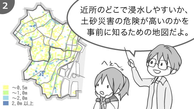 近所のどこで浸水しやすいか、土砂災害の危険が高いのかを事前に知るための地図だよ。