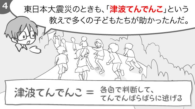 東日本大震災の時も、「津波てんでんこ」という教えで多くの子どもたちが助かったんだ。津波てんでんことは、各自で判断して、てんでんばらばらに逃げること。