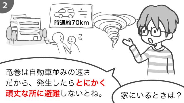 竜巻は自動車並みの速さだから、発生したらとにかく頑丈なところに避難しないとね。家にいる時は?