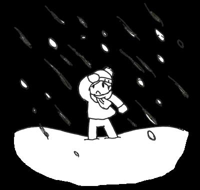大雪の中歩く人