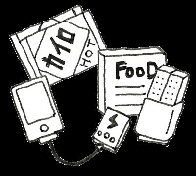 ホットカイロ、携帯食、モバイルバッテリー