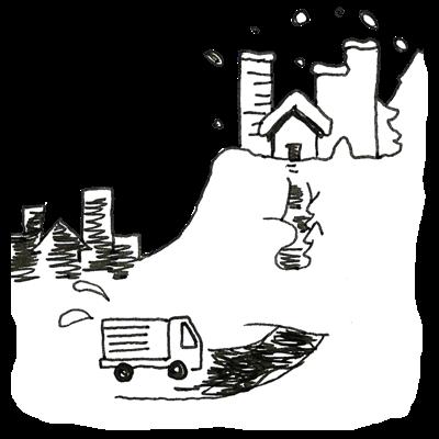 高台の街の孤立