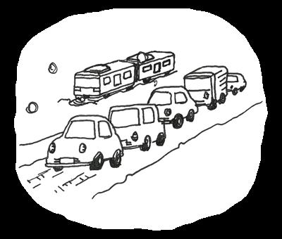 自動車の渋滞、電車の遅延