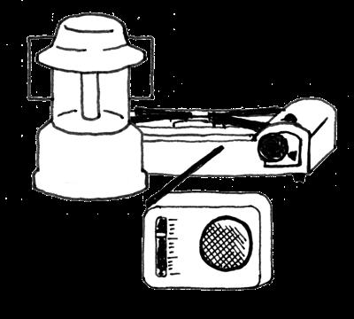 ガスボンベ、ランタン、ラジオ