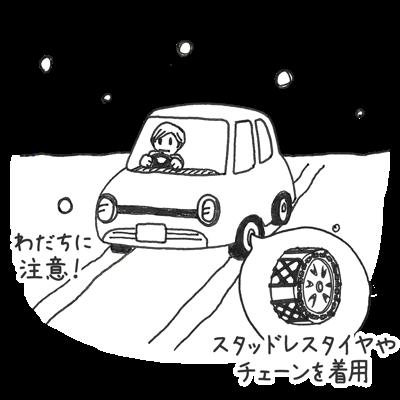 雪の日に自動車を運転する時はわだちに注意する スタッドレスタイヤやチェーンを着用する