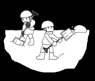 除雪作業を行う2人