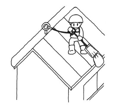 命綱をつけて屋根の除雪作業を行う人
