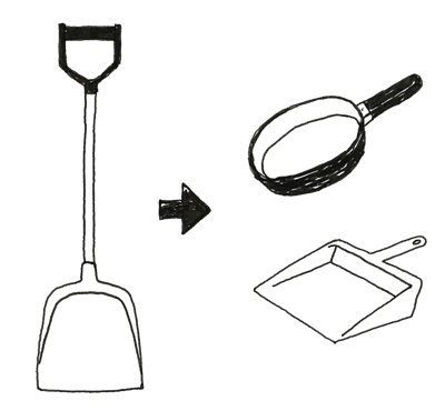雪かき用のスコップとして代用できるチリトリやフライパン