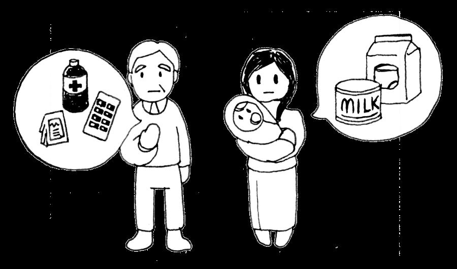 老人、乳児を抱えている女性