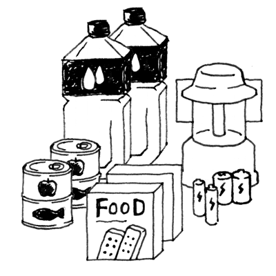 水、食料、電池、ランタン
