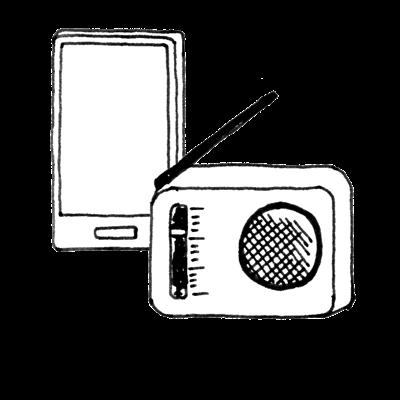 スマートフォン、ラジオ