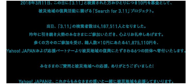 2018年3月11日、この日に「3.11」と検索された方おひとりにつき10円を募金として、被災地域の復興活動に繋げる「Search for 3.11」プロジェクト。昨年に引き続き大勢のみなさまにご参加いただき、心よりお礼申しあげます。多くの方々のご参加を受け、Yahoo! JAPANおよび応援パートナーより被災地域の復興にたずさわる6つの団体へ寄付いたします。みなさまのご賛同と被災地域への応援、ありがとうございました!