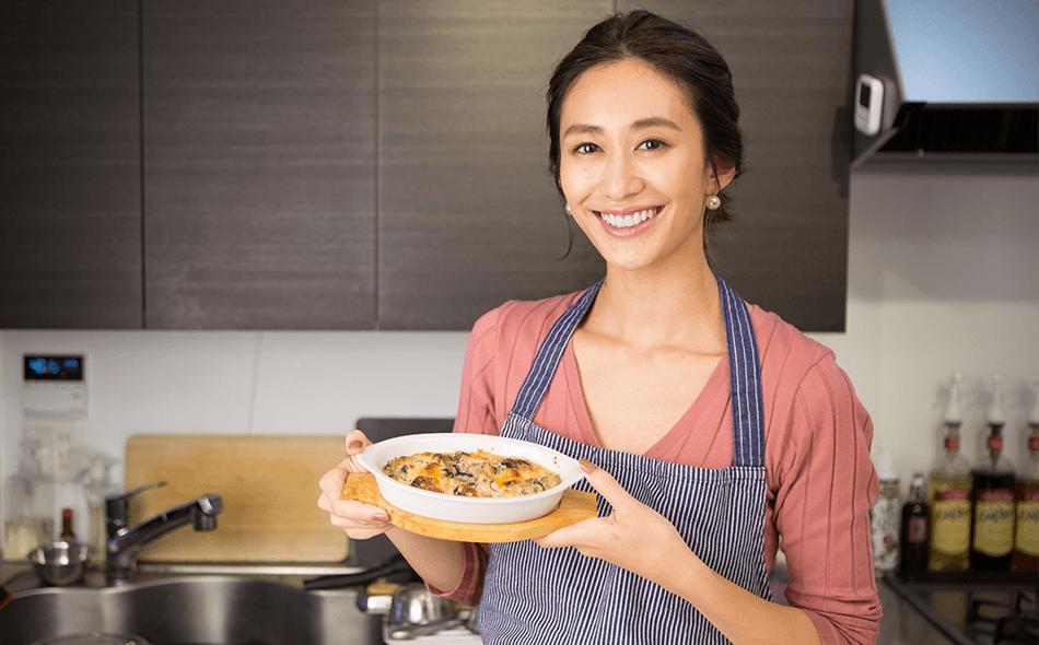 神山まりあさんの、ほんわか幸せレシピ【カキとナスのグラタン】の写真