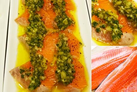 銀鮭のカルパッチョ伝説のグリーンオニオンソース