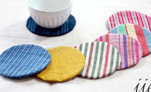 会津木綿の丸コースターの写真