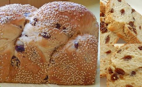 白神酵母 セサミ レーズン 食パンの写真