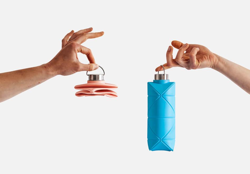外出時も楽々 軽くて折り畳める水筒「Origami Bottle」