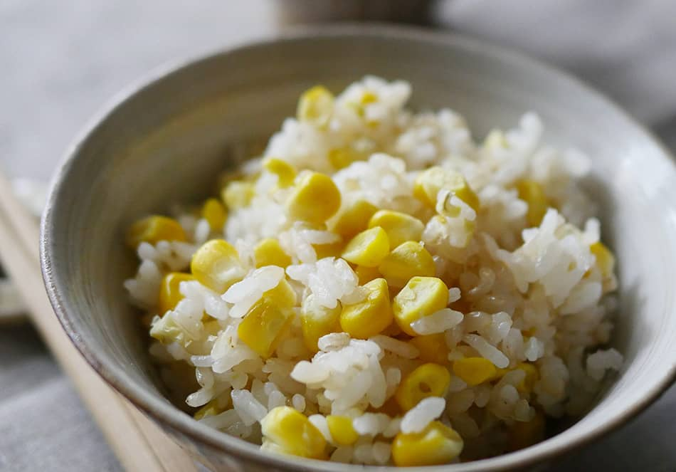 まるごと1本とうもろこしの玄米ごはん