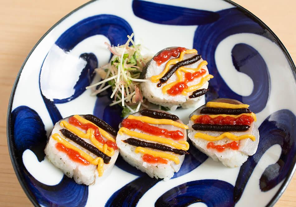 鯖寿司の辛子味噌掛け