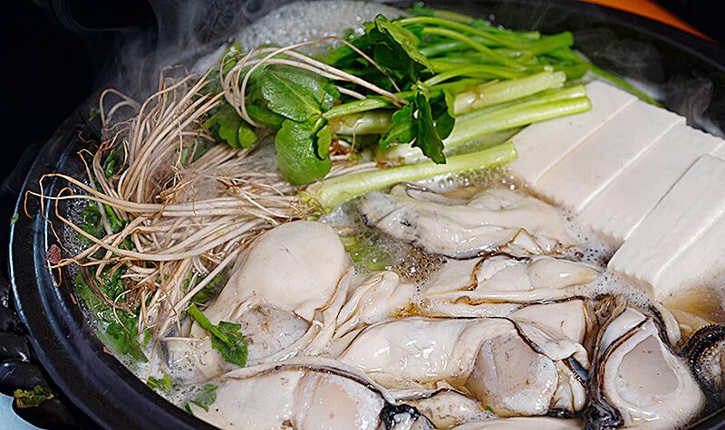 牡蠣付きせり鍋