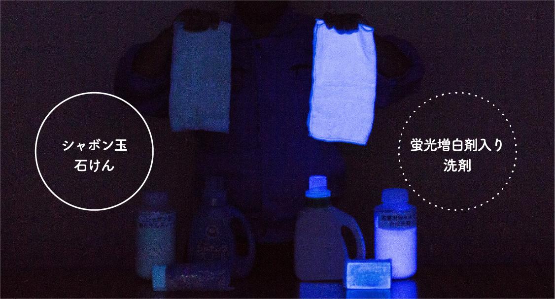 シャボン玉石けんで洗ったものと蛍光増白剤入り洗剤で洗ったものを比較した写真。
