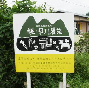 画像:綾・早川農苑の看板