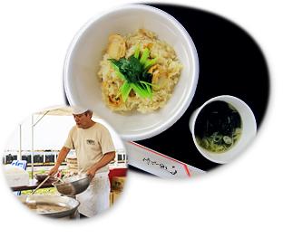 写真:ホタテ炊き込みご飯と磯のりのみそ汁