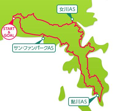 牡鹿半島チャレンジグループライドのコースマップ