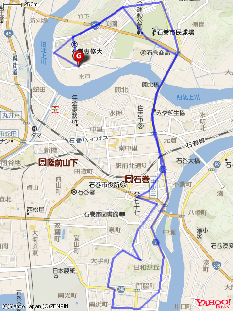手ぶらdeラクラク石巻周遊ライドコースマップ画像