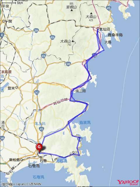 気仙沼フォンド(211㎞)コースマップ画像