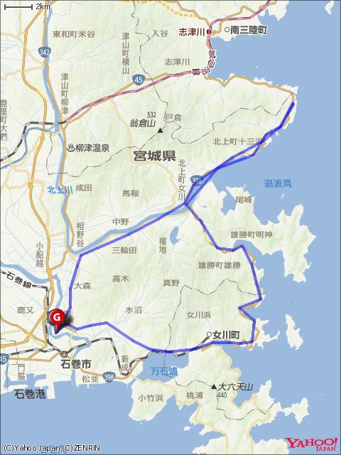 北上フォンド(100㎞)コースマップ画像