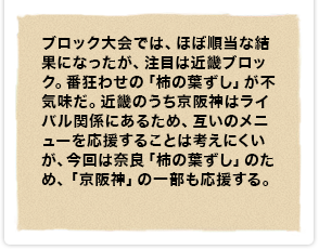 ブロック大会では、ほぼ順当な結果になったが、注目は近畿ブロック。番狂わせの「柿の葉ずし」が不気味だ。近畿のうち京阪神はライバル関係にあるため、互いのメニューを応援することは考えにくいが、今回は奈良「柿の葉ずし」のため、「京阪神」の一部も応援する。
