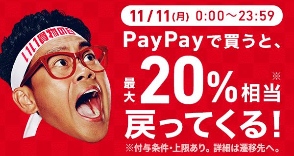 11/11(月)0:00~23:59 PayPayで買うと最大20%相当※戻ってくる! ※20%は条件・上限あり。詳細は遷移先へ。