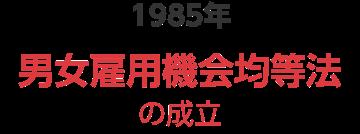 1985年 男女雇用機会均等法の成立
