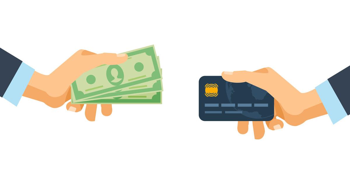 カードと現金を交換しようとしているイラスト
