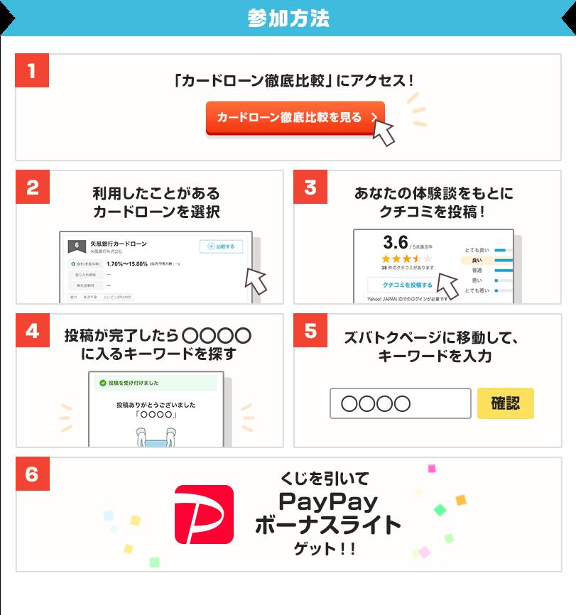 参加方法 1、カードローン徹底比較にアクセス! 2、利用したことがあるカードローンを選択 3、あなたの体験談をもとにクチコミを投稿! 4、投稿が完了したら○○○○に入るキーワードを探す 5、ズバトクページに移動して、キーワードを入力 6、くじを引いてPayPayボーナスライトゲット!
