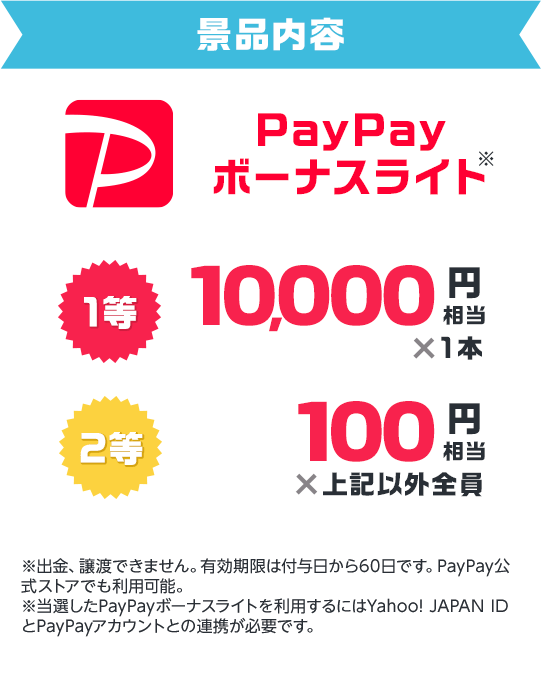 景品内容 PayPayボーナスライト 1等10,000円相当1本、2等100円相当上記以外全員 ※PayPayボーナスライトは譲渡できません。有効期限は付与日から60日です。PayPay公式ストアでも利用可能。※当選したPayPayボーナスライトを利用するにはYahoo! JAPAN IDとPayPayアカウントの連携が日必要です。