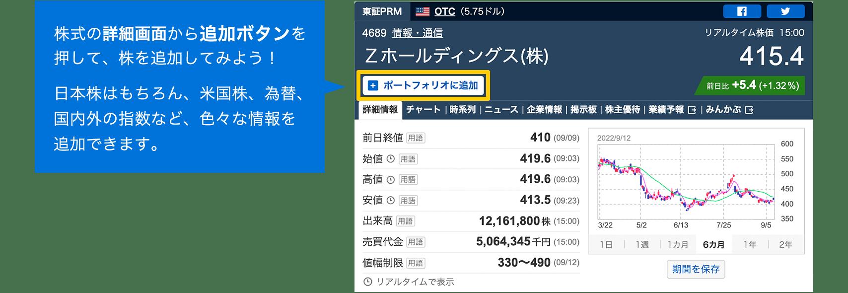 株式の詳細画面から追加ボタンを押して、株を追加してみよう!日本株はもちろん、米国株、為替、国内外の指数など、色々な情報を追加できます。