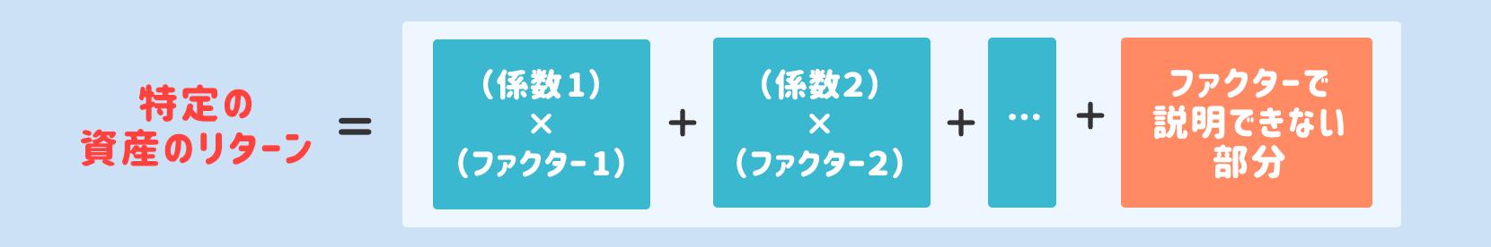 特定の資産のリターン=(係数1)✕(ファクター1)+(係数2)✕(ファクター2)+…+ファクターで説明できない部分